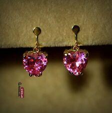 Boucles d`Oreilles Clips Zirconium Coeur Rose Original Soirée Mariage Cadeau E4
