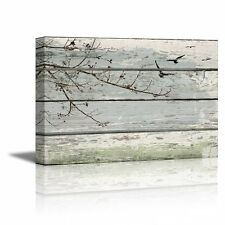 "Abstract Wall Art Tree Branches with birds on Vintage Wood Background- 16"" x 24"""