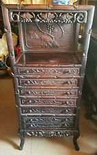 c. 1885 CHINESE HAND CARVED WOODEN SHEET MUSIC STAND 6-DRAWER BAS-RELIEF GRAPES