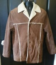 M. JULIAN Wilsons Heavy Suede Leather Rancher Jacket Coat Men Small Solid Brown