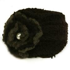 Winter Knit Floral Pearl Hat Cap Fascinator Headband HeadPiece Cocktail Black