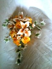 Golden Yellow Roses and Orchid Sugar Flower Spray