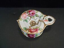 Vintage 2 Pc Tea Bag Caddy w Strainer Hand Painted w/ Roses and Gold Japan