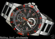 MTD-1071D-1A2 Black Red Casio Men Watch Steel Band Day Date 100M Analog New