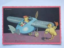 Vecchia cartolina old postcard Buona Pasqua vintage art deco SGRILLI aereo