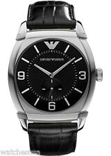 Emporio Armani Men's AR0342 Black Leather Band Classic Black Dial Watch