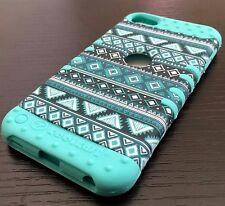 iPod Touch 5th 6th Gen -HARD&SOFT RUBBER HYBRID SKIN CASE TEAL / MINT BLUE AZTEC
