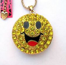 Betsey Johnson Shining yellow crystal Happy smile pendant Necklace#308L