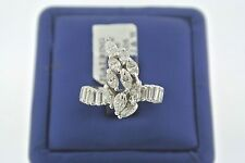 Estate Platinum Cluster 2.50 CT Marquise & Baguette Diamond Ladies Ring, 5.3gm