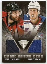 13/14 PANINI TITANIUM GAME-WORN GEAR DUAL JERSEY #GDAS Alzner/M. Staal #252/300
