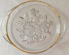 VINTAGE PRESSED GLASS SERVING PLATE * GOLD TRIMMED * FLORAL CUT GLASS W/ HANDLES
