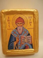 Saint Spyridon Spiro Agios Spiridonas Greek Orthodox Icon Gold Art on Pine Block