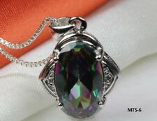 6.4CT OVAL ANTIQUE CZ MYSTIC RAINBOW PEACOCK FIRE TOPAZ NECKLACE PENDANT-MTS6PXW