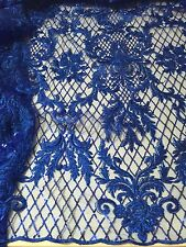 "ROYAL METALLIC EMBROIDERY SEQUINS BEIDAL LACE FABRIC 50"" WiIDE 1 YARD"