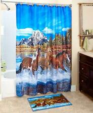 Majestic Western Running Horses Shower Curtain Rug Hooks Galloping Horses Set