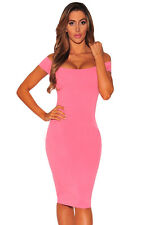 sexy women ladies Pink Crisscross Off Shoulder Bodycon club party mini Dress top