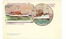 Military/Navy Ship-WHITE SQUADRON-USS NEW YORK & BROOKLYN-PMC Postcard