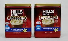 2 Hills Bros FRENCH VANILLA SUGAR FREE Iced Cappuccino Drink Mix 12 oz each can