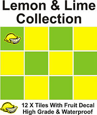 "4"" Tile Transfers Stickers 12 + Free Printed transfer Lemon & Lime collection"