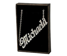 Name Necklace MICHAELA - 18ct White Gold Plated - Jewellery Identity Wedding