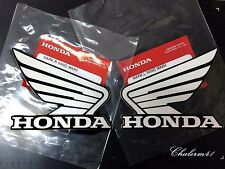 HONDA GENUINE  WING - White Black - 2X 90mm B2S18 STICKER DECAL PLATE EMBLEM