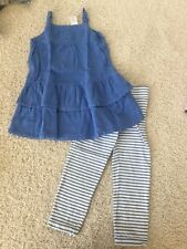 Gymboree GREEK ISLE STYLE crochet sweater dress stripe capri leggings 5t 5 EUC