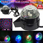 Music Activated Disco Light LED Crystal Ball Rotating Stage Lighting DJ Party UK