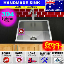 Sink Stainless Steel Single Bowl Square  Kitchen Undermount Topmount 440x440mm