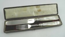 Victorian sterling silver knife & fork in fitted case John Gammage London 1854