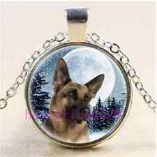 German Shepherd Photo Cabochon Glass Tibet Silver Chain Pendant Necklace#AC60