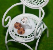 Dollhouse Fairy Garden CHAIR & CUP COCOA DRINK HOT CHOCOLATE CHIP COOKIES PLATE