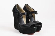 """Christian Louboutin Black Leather Peep Toe """"Praia"""" Espadrille Wedges SZ 38"""
