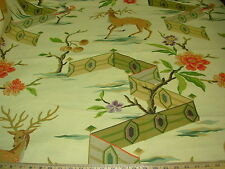 "Brunschwig ET & Fils Fabric Deer Animal ""NARA LANDSCAPE"" 3YD  MSRP$200+/YD OMG!"