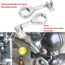 39mm Chrome Motorcycle Driving Passing light Turn Signal Relocation Fork Mounts