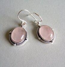 Ohrringe mit Rosenquarz, 925er Silber - Rosa - Quarz
