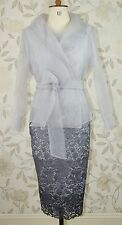 BNWT L'Atelier Mother of Bride Groom Silver Lace Ombre Dress & Jacket Size 12
