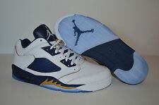 NIKE AIR JORDAN 5 RETRO LOW MEN'S SHOES SIZE 9.5 WHITE MIDNIGHT NAVY 819171-135