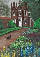 ACEO PRINT OF PAINTING RYTA BLACK CAT BRITISH LANDSCAPE SPRING FLOWERS GARDEN