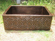 Free Product of Taxes/Copper Sink w/Fleur de Lis Design 33x22x10 16 Gauge