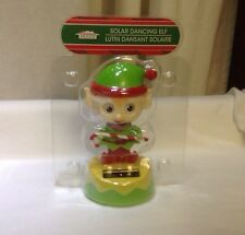Solar Dancing Christmas Elf Holding Candy Cane With Green And Yellow Base New