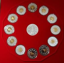 1998-2009 ROYAL CANADIAN MINT Lunar Series Silver Coin Set  Plush Case w/COAs