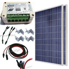 200W off grid complete kit: 2x 100W poly solar panel W/ accessories RV Boat Home