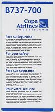 COPA AIRLINES Boeing 737-700 safety card 2009 - good cond sc580ax