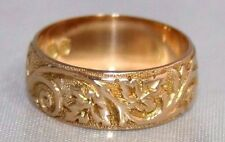 Fine Antique Victorian 18ct Gold Hand Engraved Wedding Ring 1898 L1/2 US 6