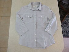Women's COUNTRY ROAD Size S 3/4 Sleeve Shirt Grey White Near New Cotton Striped