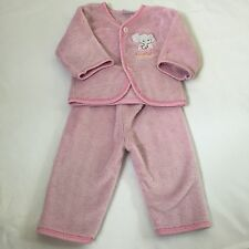 Pink thick warm fluffy fleece pyjama PJs set Baby girls clothes 12-18  Months