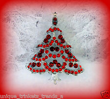 RUBY RED CHRISTMAS TREE RHINESTONE CRYSTAL SILVER GOLD WGP GIFT BROOCH PIN W BAG