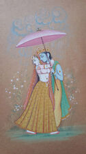 008 An old antique look mughal style miniature paper painting of RADHA KRISHNA