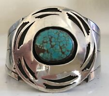"""""""SIGNED"""" VINTAGE NAVAJO NO. 8 SPIDERWEB TURQUOISE & STERLING CONCHO CUFF 42 GRM"""
