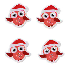 250pcs Wholesale XMAS Hat Mini Owl Animal Wood Buttons Sewing Scrapbooking DIY C